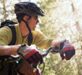 Mountainbiking, mountain bike, rollerblading, rollerblade. Bromont, QC, Canada.